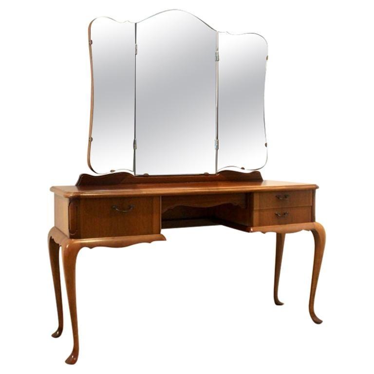 Dutch Mahogany Vanity Dresser with Tri-Fold Mirror