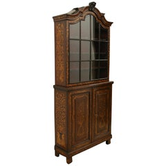 Dutch Marquetry 2 Part Display Cabinet