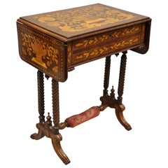 Dutch Marquetry Inlaid Regency Style Drop-Leaf Sewing Stand Work Table