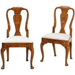 Dutch Marquetry Upholstered Chairs of Elm and Walnut 'Individually Priced'