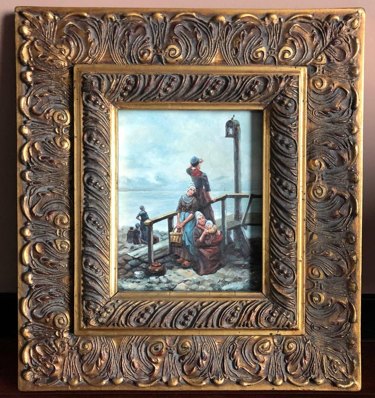 Beautiful master Dutch oil painting in style on wood with three ladies and a baby on a coast. Original gilt wooden massive frame. Signed on the right. Unrecognised name of the artist.  Dutch Golden Age painting is the painting of the Dutch Golden