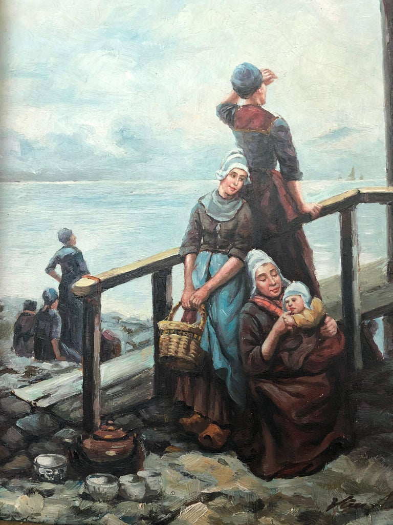 Early 20th Century Dutch Master Golden Age Oil on Wood Painting For Sale