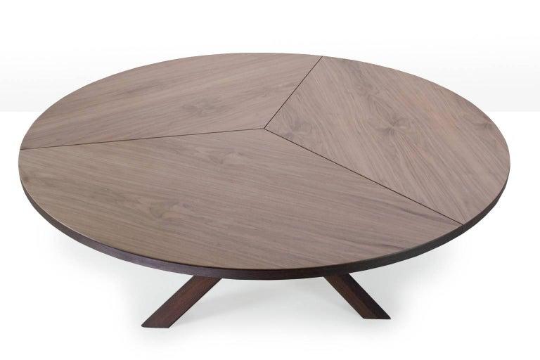 Dutch Midcentury Extra Large Round Walnut Tripod Table By