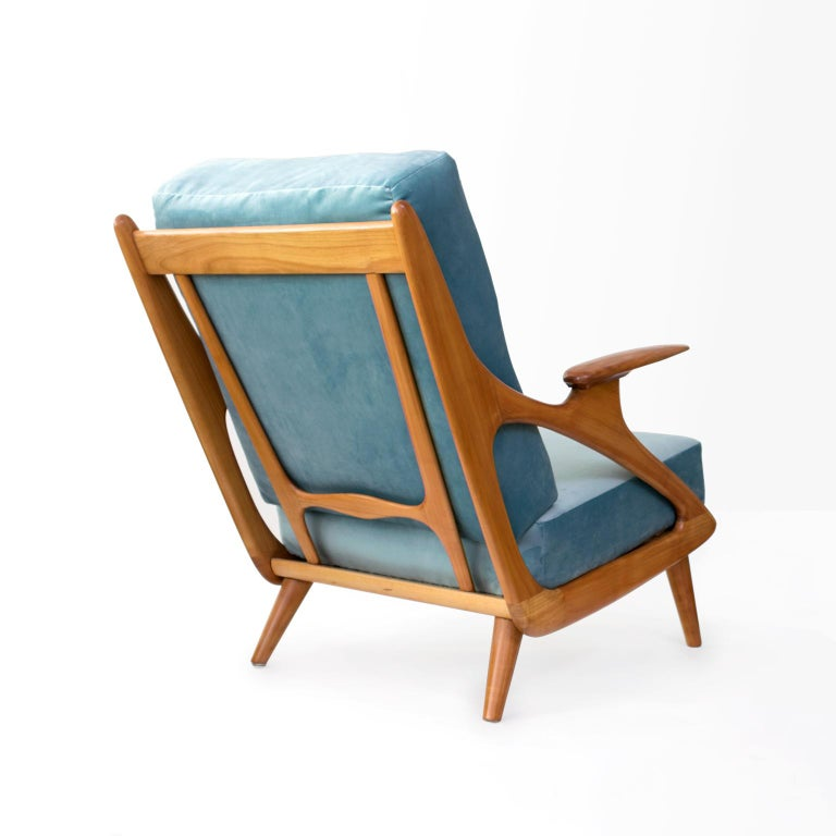 20th Century Dutch Mid-Century Modern Carved Cherry Armchair by B. Spuij's For Sale