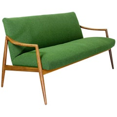 Dutch Midcentury 2-Seat Sofa with Teak Legs and Armrests