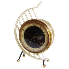 Dutch Midcentury, Avant Garde, Brass and Polychrome Enamel Pendulum Mantle Clock