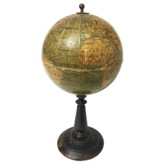 Dutch Miniature Terrestrial Globe on Wooden Base, circa 1900