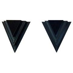 Dutch Modern Glass and Steel Triangular Wall Sconces