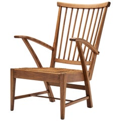 Dutch Modern Wooden Armchair, the Netherlands, circa 1950s-1960s