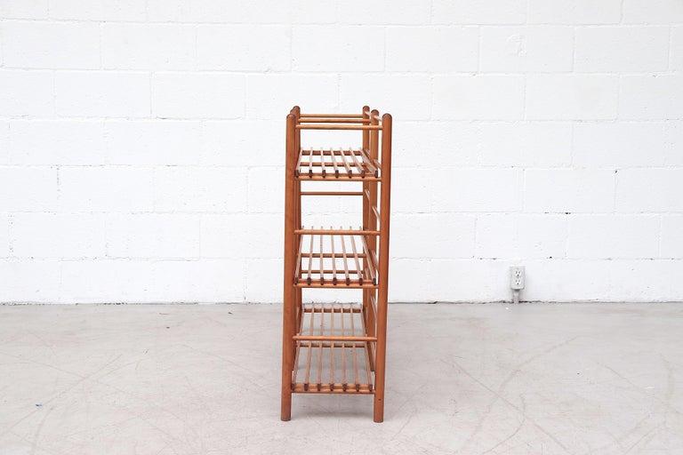 Mid-Century Modern Dutch Modernist Wood Stick Bookshelf For Sale