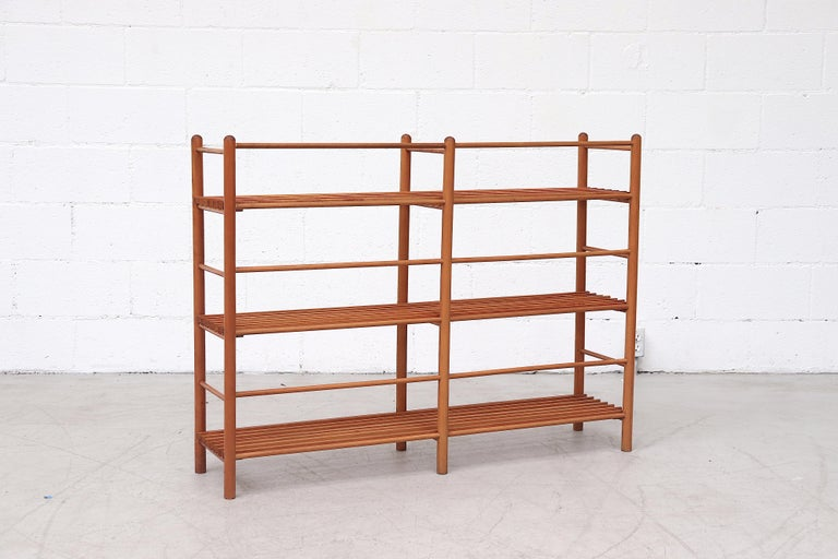 Dutch Modernist Wood Stick Bookshelf In Good Condition For Sale In Los Angeles, CA