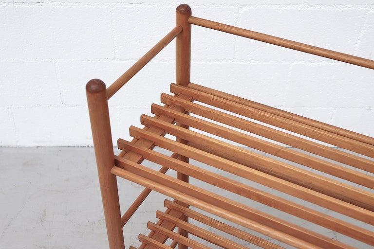 Mid-20th Century Dutch Modernist Wood Stick Bookshelf For Sale