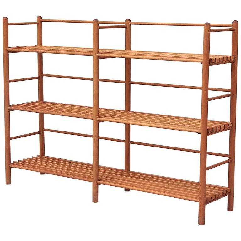 Dutch Modernist Wood Stick Bookshelf For Sale