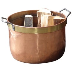 Dutch Napoleon III Log Basket, 19th Century, Polished Copper and Brass