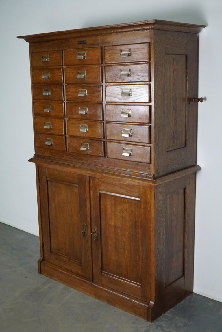 Dutch Oak Apothecary or Filing Cabinet, 1930s For Sale 8