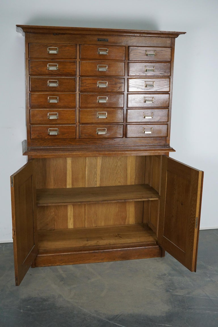Dutch Oak Apothecary or Filing Cabinet, 1930s For Sale 11