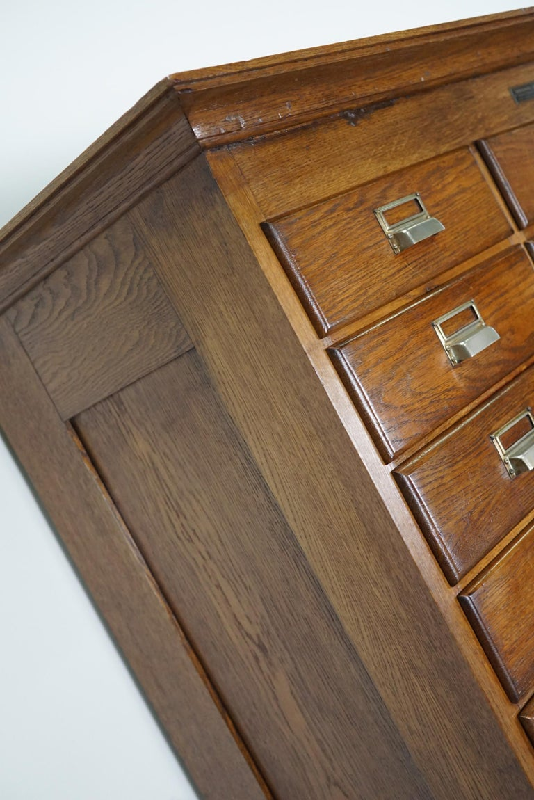 Industrial Dutch Oak Apothecary or Filing Cabinet, 1930s For Sale