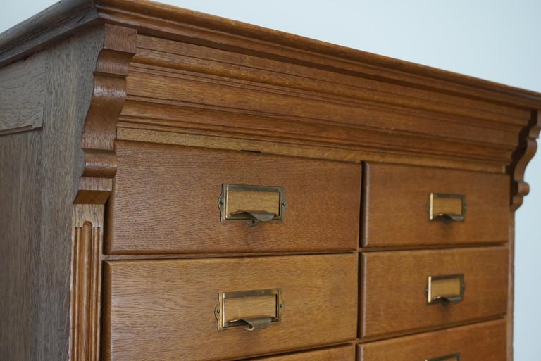 Dutch Oak Apothecary or Filing Cabinet, 1930s For Sale 10