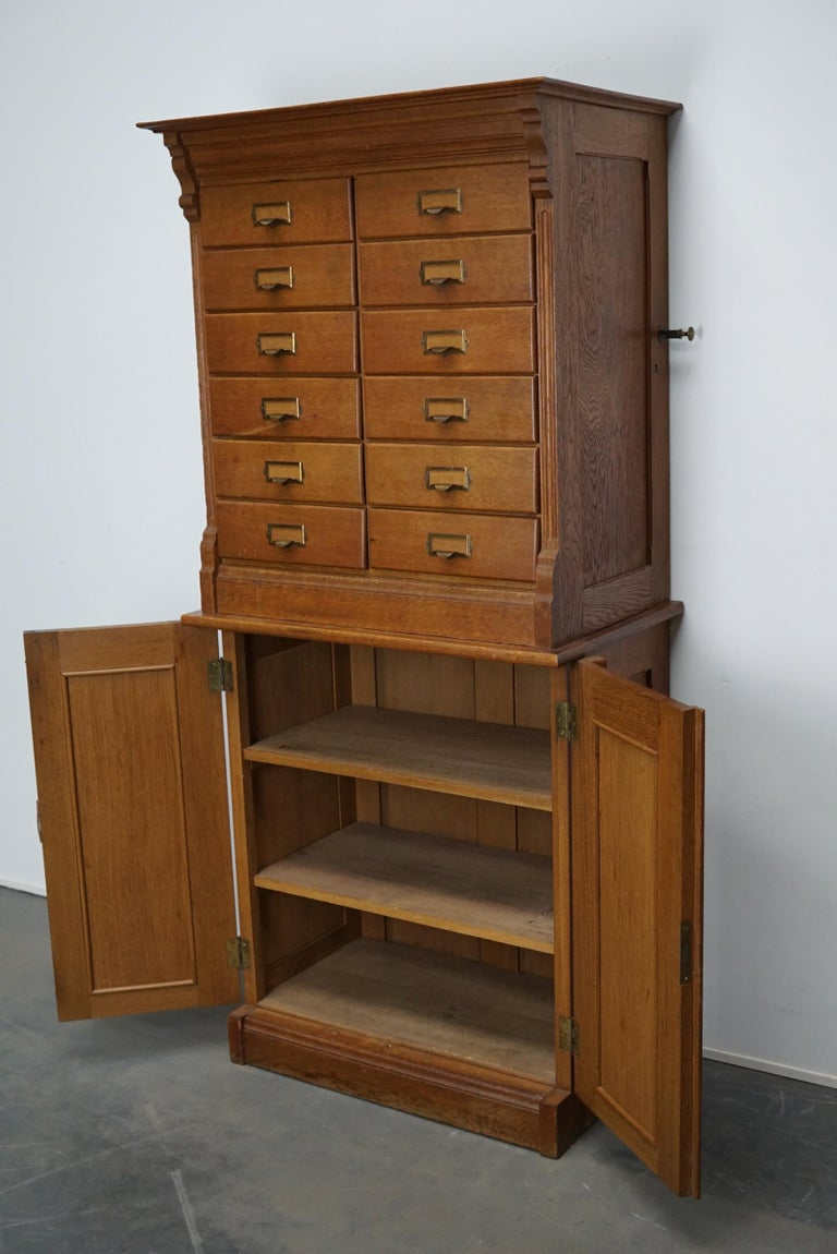 Mid-20th Century Dutch Oak Apothecary or Filing Cabinet, 1930s For Sale