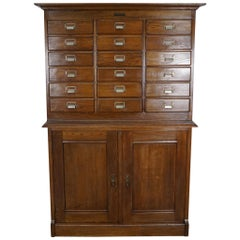 Dutch Oak Apothecary or Filing Cabinet, 1930s