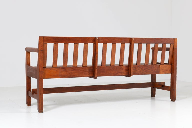 Dutch Oak Art Deco Haagse School Bench, 1920s For Sale 6