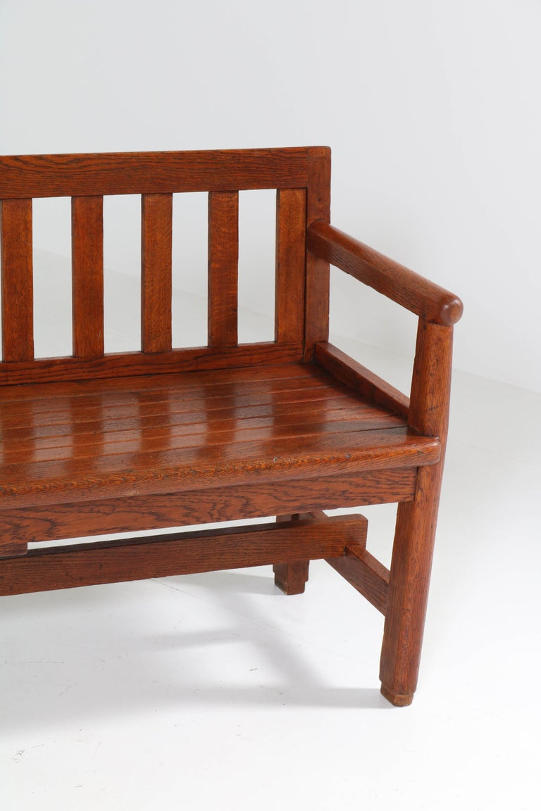 Early 20th Century Dutch Oak Art Deco Haagse School Bench, 1920s For Sale