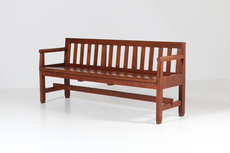 Dutch Oak Art Deco Haagse School Bench, 1920s For Sale 1