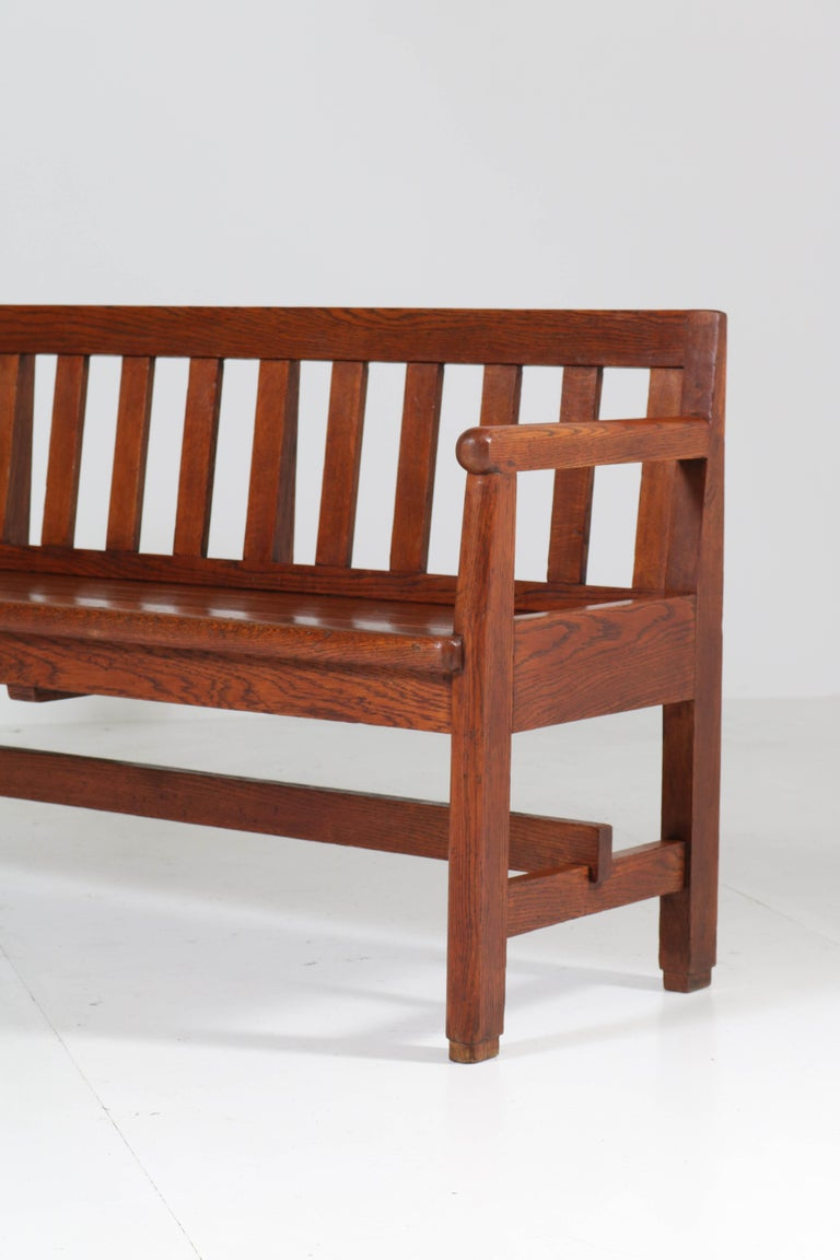 Dutch Oak Art Deco Haagse School Bench, 1920s For Sale 2