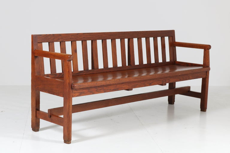 Dutch Oak Art Deco Haagse School Bench, 1920s For Sale 3