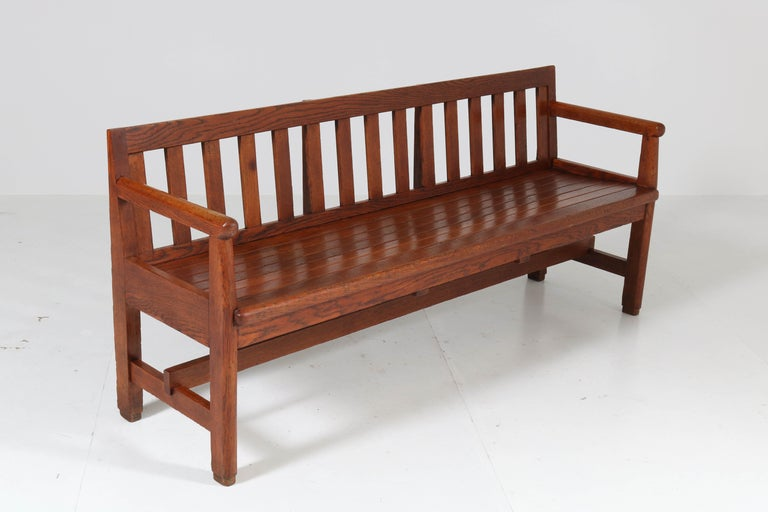 Dutch Oak Art Deco Haagse School Bench, 1920s For Sale 4
