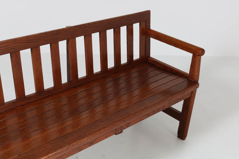 Dutch Oak Art Deco Haagse School Bench, 1920s For Sale 5