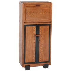 Dutch Oak Art Deco Haagse School Cabinet or Dry Bar, 1920s