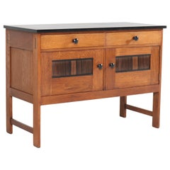 Dutch Oak Art Deco Haagse School Credenza by H.Wouda for Pander, 1920s