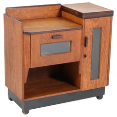 Dutch Oak Art Deco Haagse School Tea Cabinet by P.E.L. Izeren for Genneper Molen
