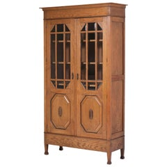 Dutch Oak Art Nouveau Arts & Crafts Bookcase with Beveled Glass, 1900s