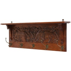 Dutch Oak Art Nouveau Arts & Crafts Coat Rack, 1900s