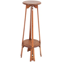 Dutch Oak Art Nouveau Arts & Crafts Pedestal Table with Inlay, 1900s
