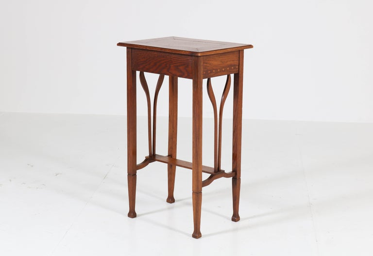 Dutch Oak Art Nouveau Arts & Crafts Sewing Table with Inlay, 1900s For Sale 6