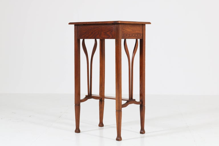Dutch Oak Art Nouveau Arts & Crafts Sewing Table with Inlay, 1900s For Sale 7