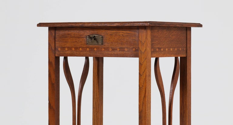 Dutch Oak Art Nouveau Arts & Crafts Sewing Table with Inlay, 1900s In Good Condition For Sale In Amsterdam, NL