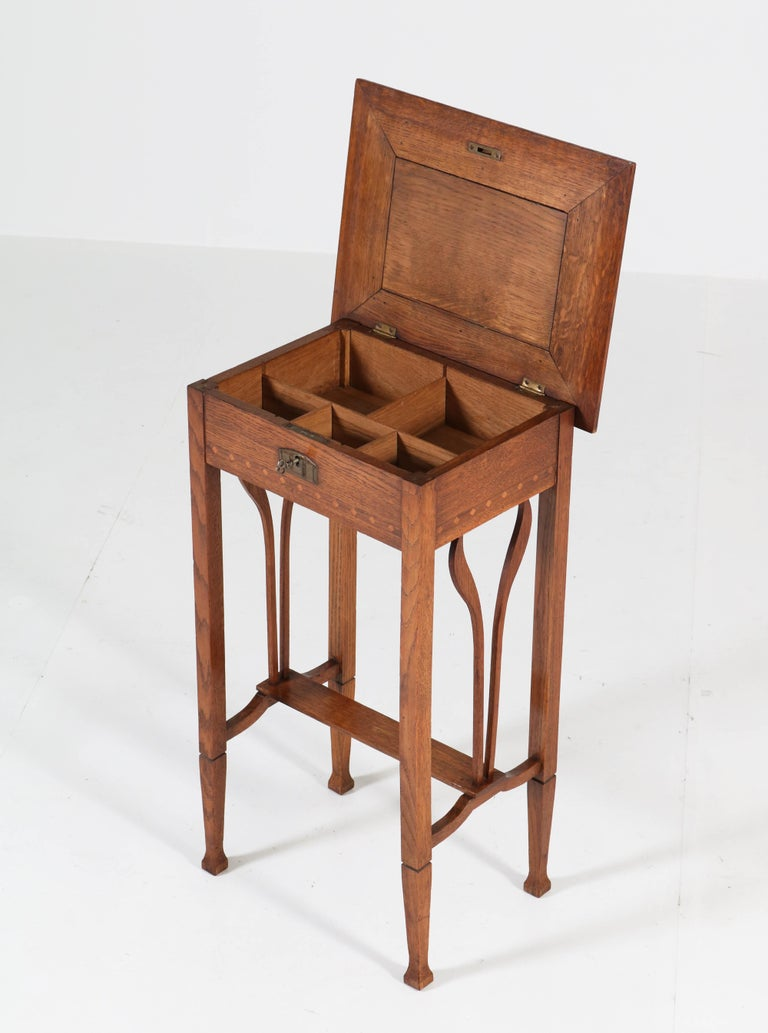 Early 20th Century Dutch Oak Art Nouveau Arts & Crafts Sewing Table with Inlay, 1900s For Sale