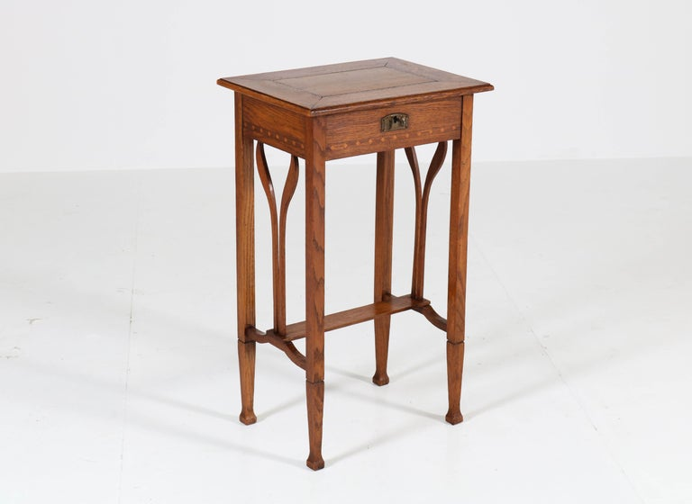 Dutch Oak Art Nouveau Arts & Crafts Sewing Table with Inlay, 1900s For Sale 1