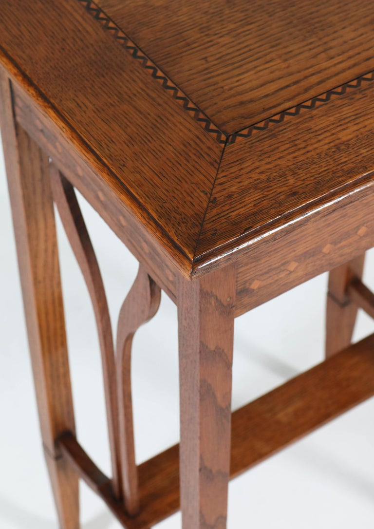 Dutch Oak Art Nouveau Arts & Crafts Sewing Table with Inlay, 1900s For Sale 2
