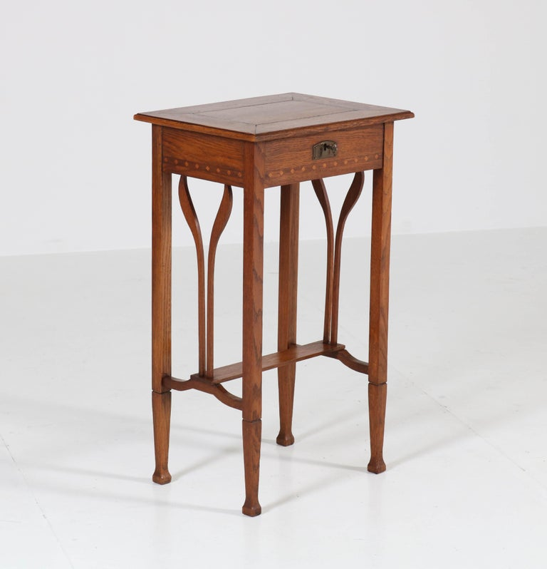 Dutch Oak Art Nouveau Arts & Crafts Sewing Table with Inlay, 1900s For Sale 3