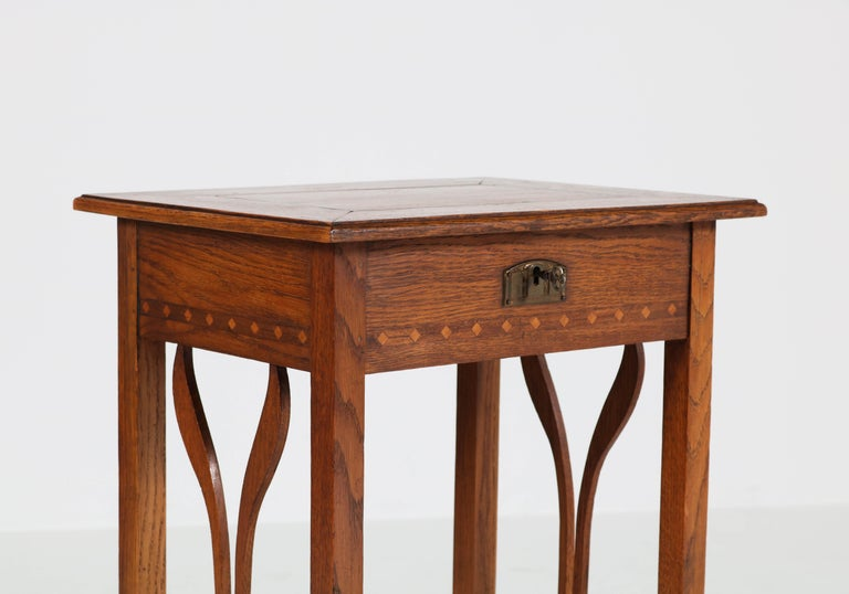 Dutch Oak Art Nouveau Arts & Crafts Sewing Table with Inlay, 1900s For Sale 4