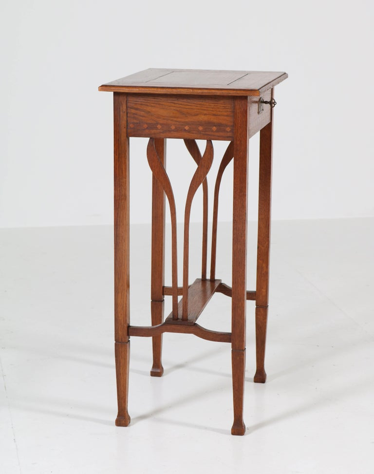 Dutch Oak Art Nouveau Arts & Crafts Sewing Table with Inlay, 1900s For Sale 5