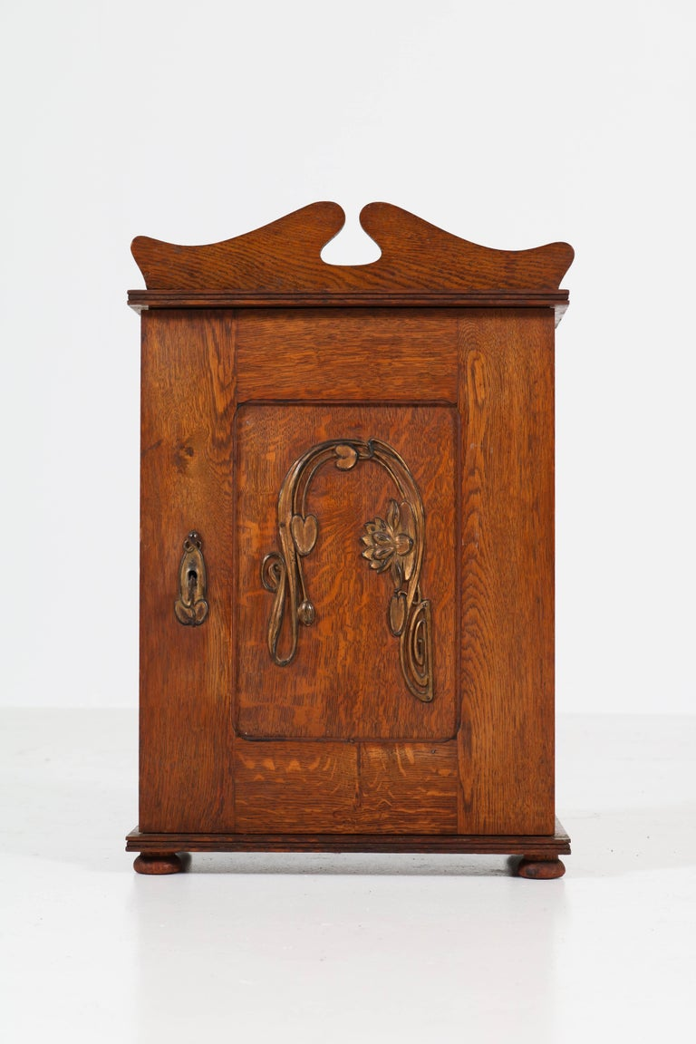 Dutch Oak Art Nouveau Arts & Crafts Wall Cabinet with Brass Decor, 1900s 4