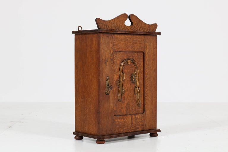 Dutch Oak Art Nouveau Arts & Crafts Wall Cabinet with Brass Decor, 1900s 5