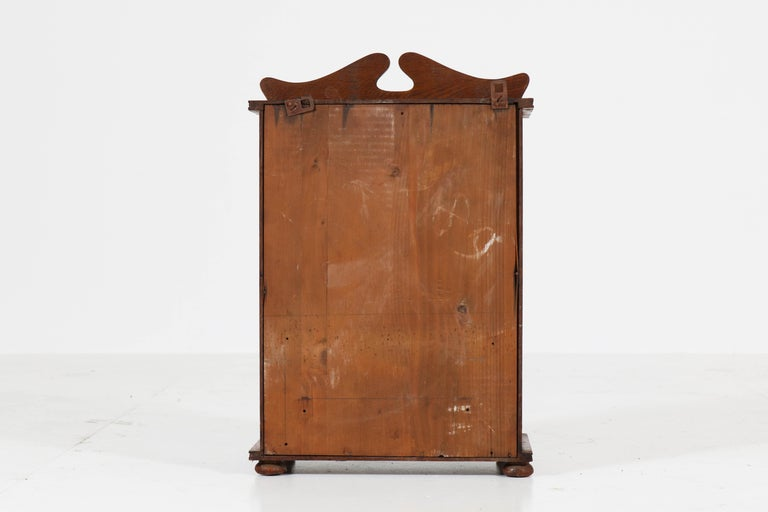 Dutch Oak Art Nouveau Arts & Crafts Wall Cabinet with Brass Decor, 1900s 6