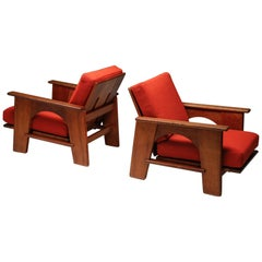 Dutch Oakwood Lounge Seating Set by Bas Van Pelt